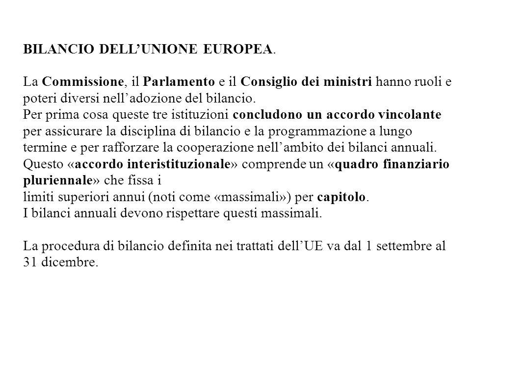 BILANCIO DELL'UNIONE EUROPEA.