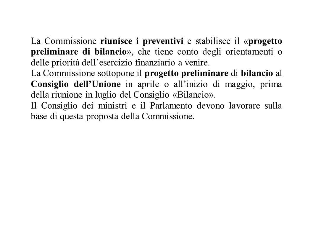 La Commissione riunisce i preventivi e stabilisce il «progetto preliminare di bilancio», che tiene conto degli orientamenti o delle priorità dell'esercizio finanziario a venire.