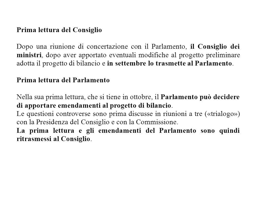 Prima lettura del Consiglio Dopo una riunione di concertazione con il Parlamento, il Consiglio dei ministri, dopo aver apportato eventuali modifiche al progetto preliminare adotta il progetto di bilancio e in settembre lo trasmette al Parlamento.