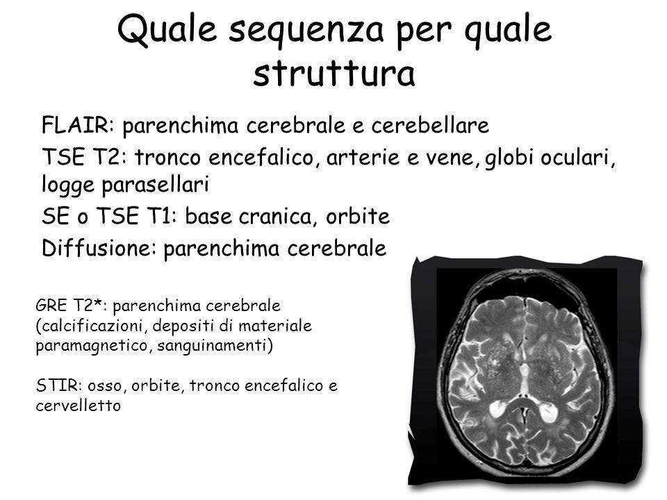 Quale sequenza per quale struttura FLAIR: parenchima cerebrale e cerebellare TSE T2: tronco encefalico, arterie e vene, globi oculari, logge parasella