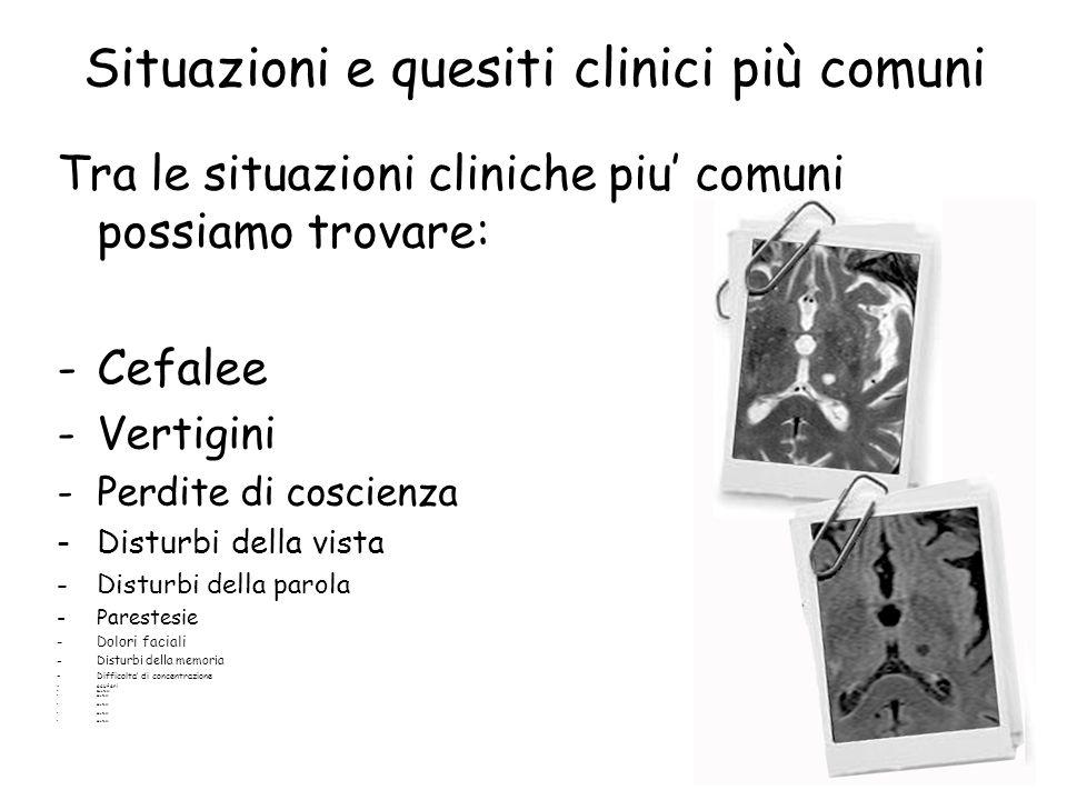 Situazioni e quesiti clinici più comuni Tra le situazioni cliniche piu' comuni possiamo trovare: -Cefalee -Vertigini -Perdite di coscienza -Disturbi d