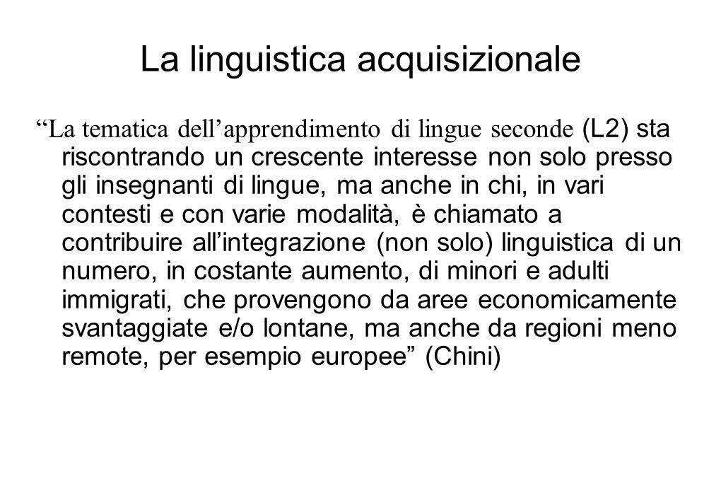"""La linguistica acquisizionale """"La tematica dell'apprendimento di lingue seconde (L2) sta riscontrando un crescente interesse non solo presso gli inseg"""