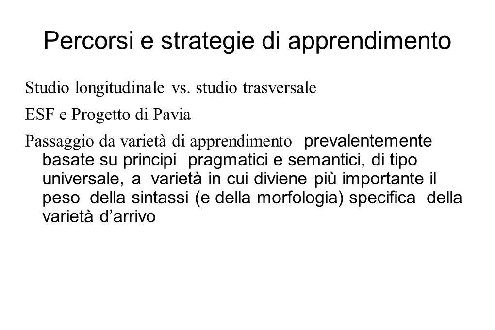 Percorsi e strategie di apprendimento Studio longitudinale vs. studio trasversale ESF e Progetto di Pavia Passaggio da varietà di apprendimento preval