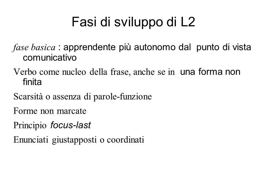 Fasi di sviluppo di L2 fase basica : apprendente più autonomo dal punto di vista comunicativo Verbo come nucleo della frase, anche se in una forma non
