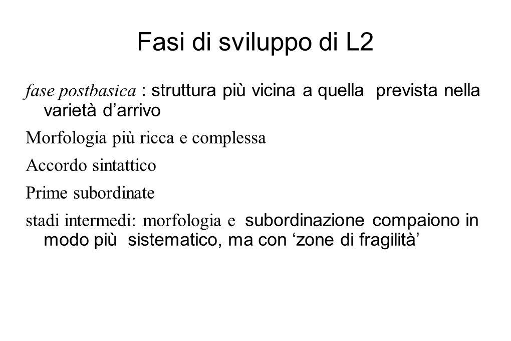 Fasi di sviluppo di L2 fase postbasica : struttura più vicina a quella prevista nella varietà d'arrivo Morfologia più ricca e complessa Accordo sintat