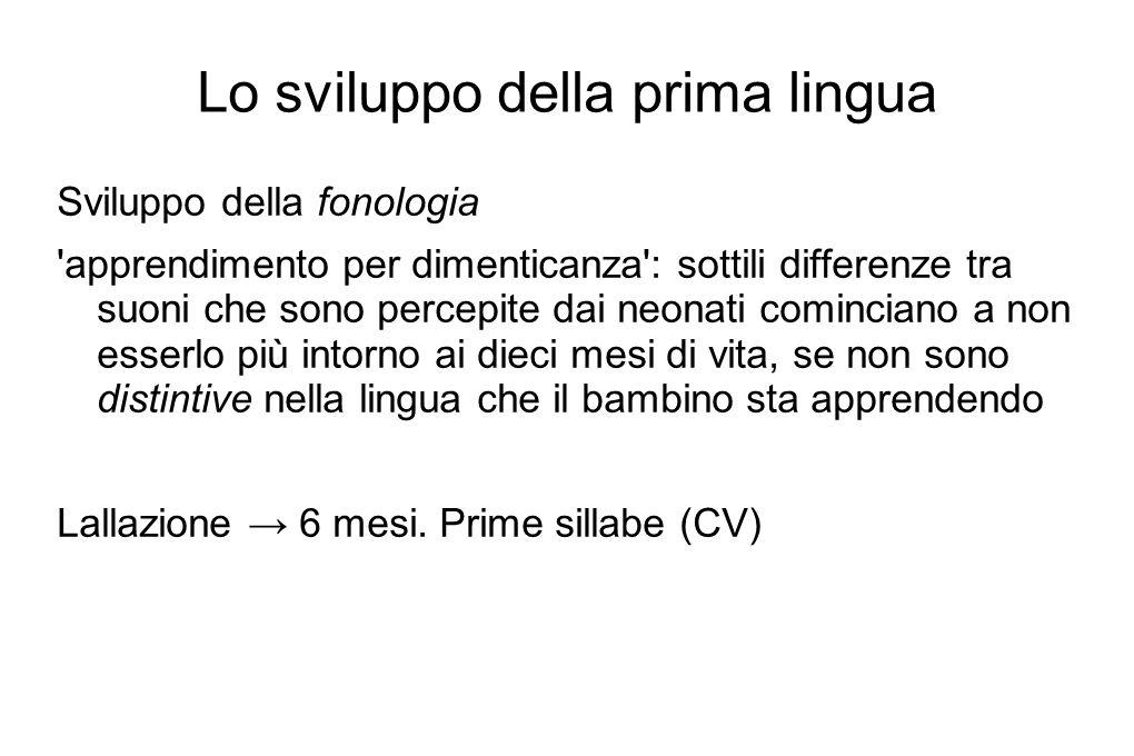 Lo sviluppo della prima lingua Sviluppo del lessico Segmentazione Gesto dell indicare (pointing) Protoparole Esplosione del vocabolario (19-21 mesi)