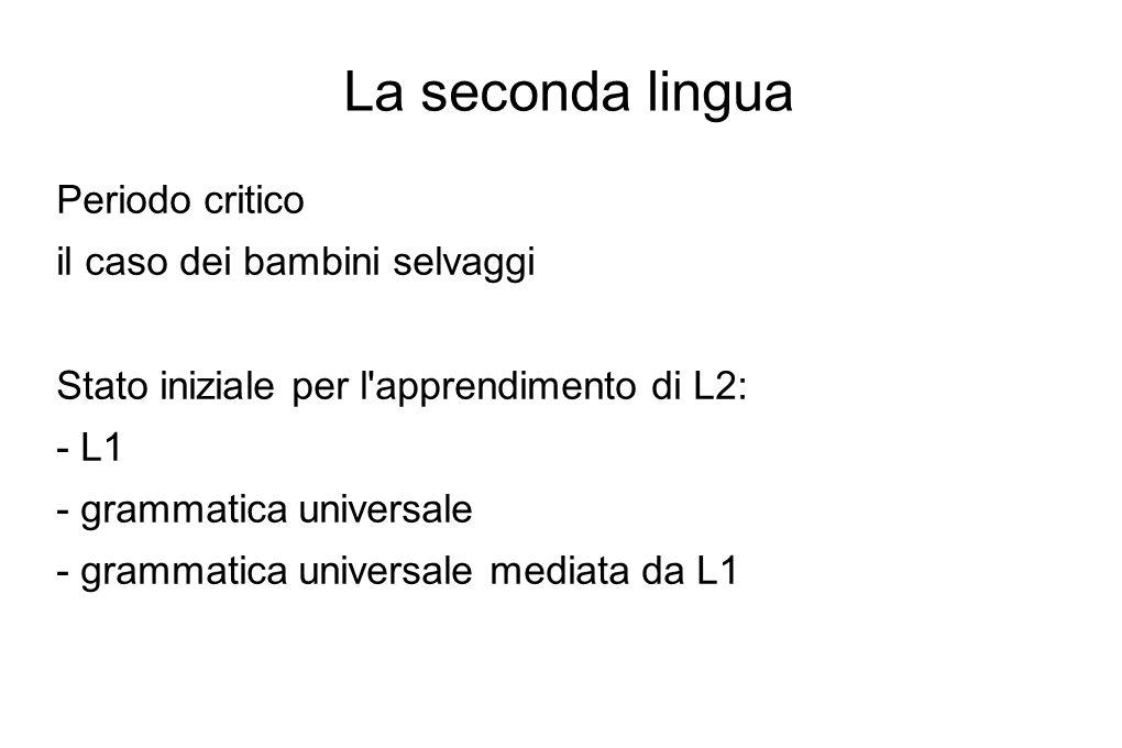 La seconda lingua Periodo critico il caso dei bambini selvaggi Stato iniziale per l'apprendimento di L2: - L1 - grammatica universale - grammatica uni