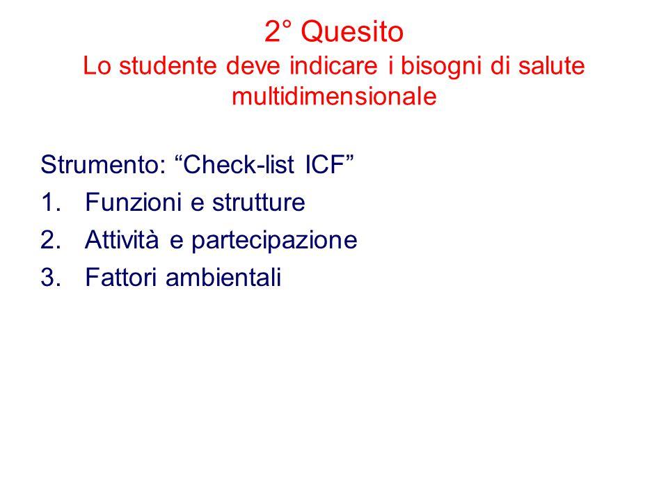 2° Quesito Lo studente deve indicare i bisogni di salute multidimensionale Strumento: Check-list ICF 1.Funzioni e strutture 2.Attività e partecipazione 3.Fattori ambientali