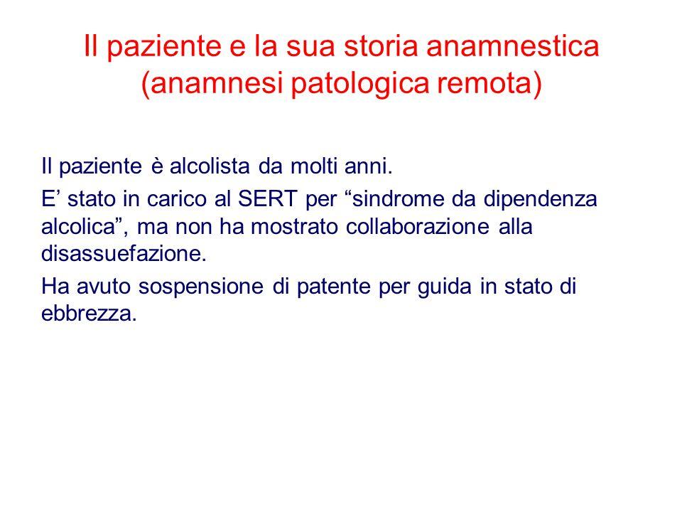 Il paziente e la sua storia anamnestica (anamnesi patologica remota) Il paziente è alcolista da molti anni.