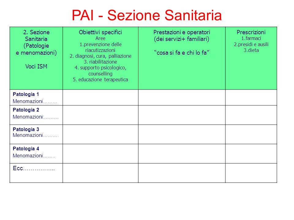 2. Sezione Sanitaria (Patologie e menomazioni) Voci ISM Obiettivi specifici Aree 1.prevenzione delle riacutizzazioni 2. diagnosi, cura, palliazione 3.