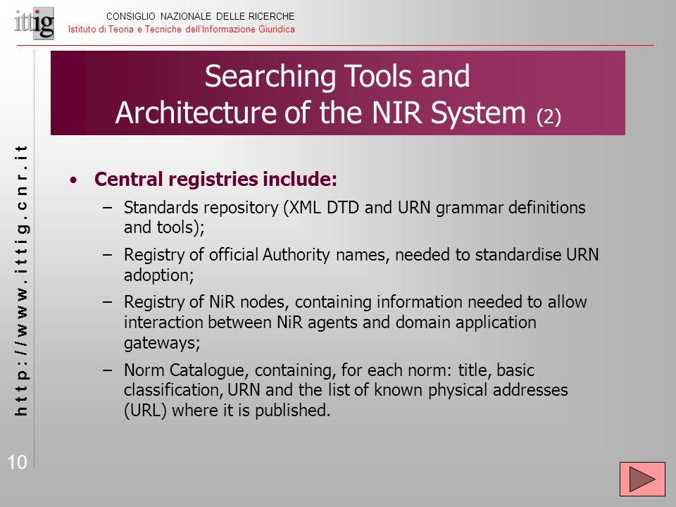 10 CONSIGLIO NAZIONALE DELLE RICERCHE Istituto di Teoria e Tecniche dell'Informazione Giuridica h t t p : / / w w w.