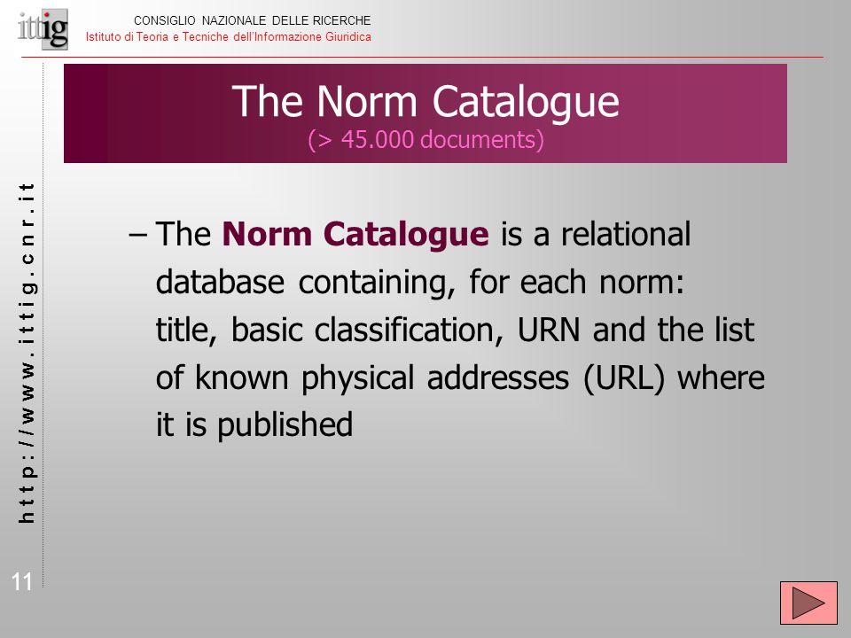 11 CONSIGLIO NAZIONALE DELLE RICERCHE Istituto di Teoria e Tecniche dell'Informazione Giuridica h t t p : / / w w w. i t t i g. c n r. i t The Norm Ca
