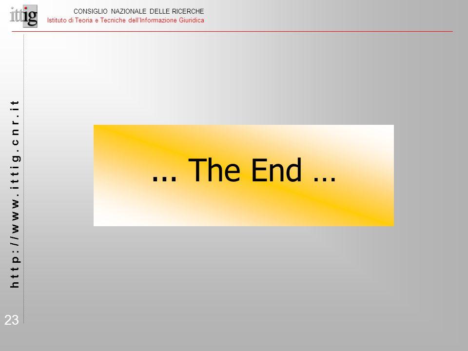 23 CONSIGLIO NAZIONALE DELLE RICERCHE Istituto di Teoria e Tecniche dell'Informazione Giuridica h t t p : / / w w w. i t t i g. c n r. i t... The End