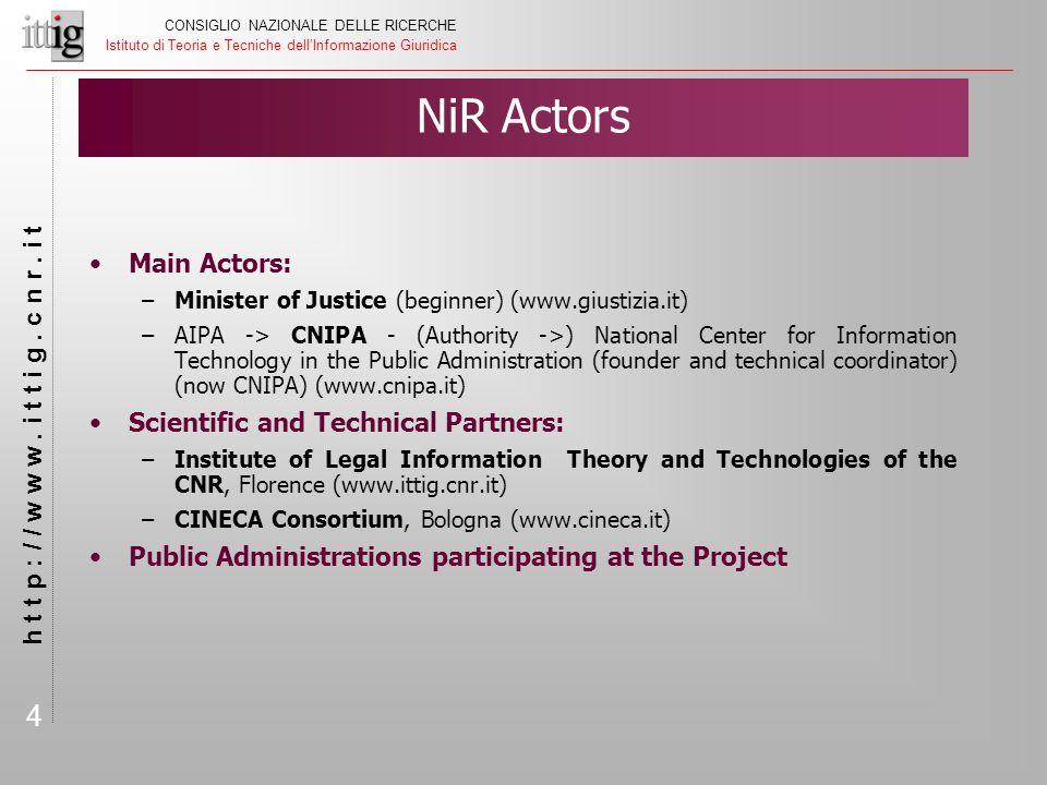 5 CONSIGLIO NAZIONALE DELLE RICERCHE Istituto di Teoria e Tecniche dell'Informazione Giuridica h t t p : / / w w w.