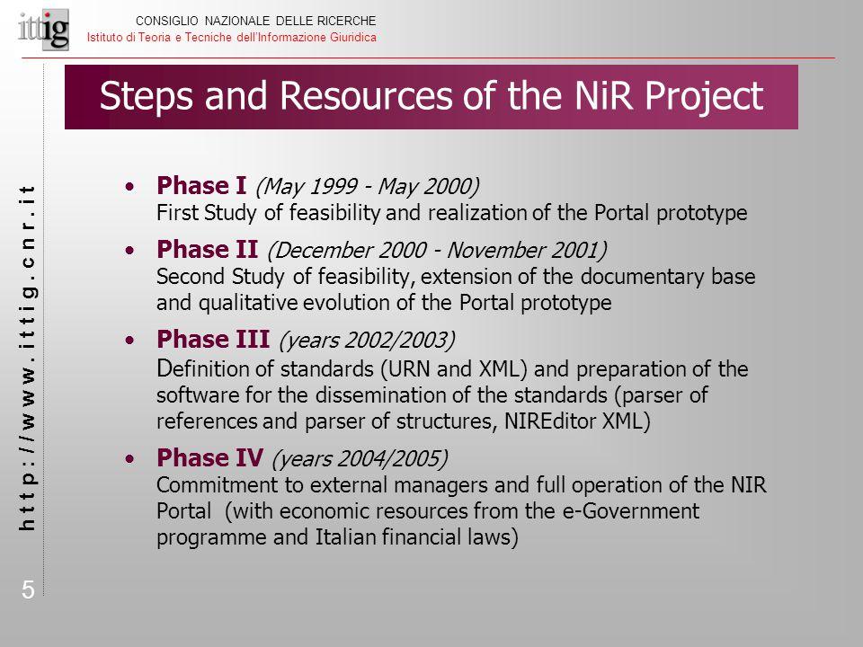 5 CONSIGLIO NAZIONALE DELLE RICERCHE Istituto di Teoria e Tecniche dell'Informazione Giuridica h t t p : / / w w w. i t t i g. c n r. i t Phase I (May