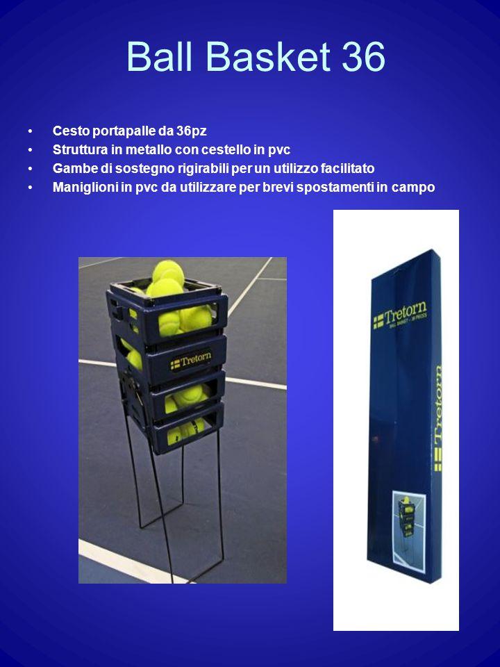 Ball Basket 36 Cesto portapalle da 36pz Struttura in metallo con cestello in pvc Gambe di sostegno rigirabili per un utilizzo facilitato Maniglioni in pvc da utilizzare per brevi spostamenti in campo