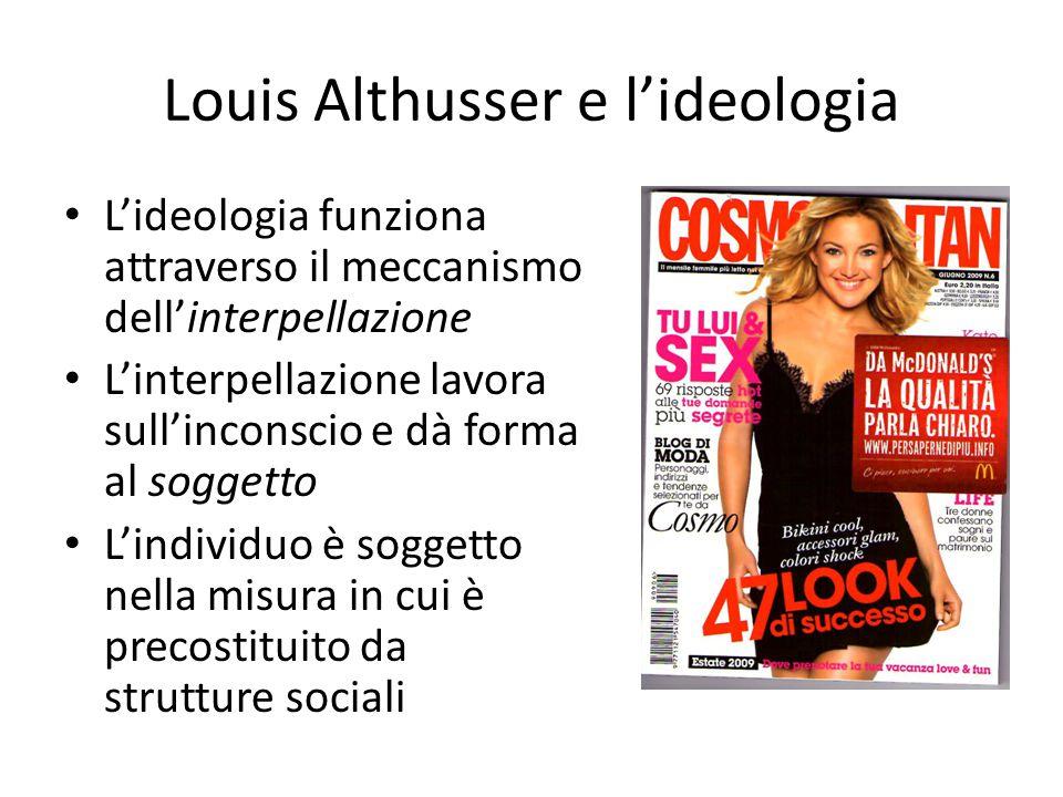 Louis Althusser e l'ideologia L'ideologia funziona attraverso il meccanismo dell'interpellazione L'interpellazione lavora sull'inconscio e dà forma al soggetto L'individuo è soggetto nella misura in cui è precostituito da strutture sociali