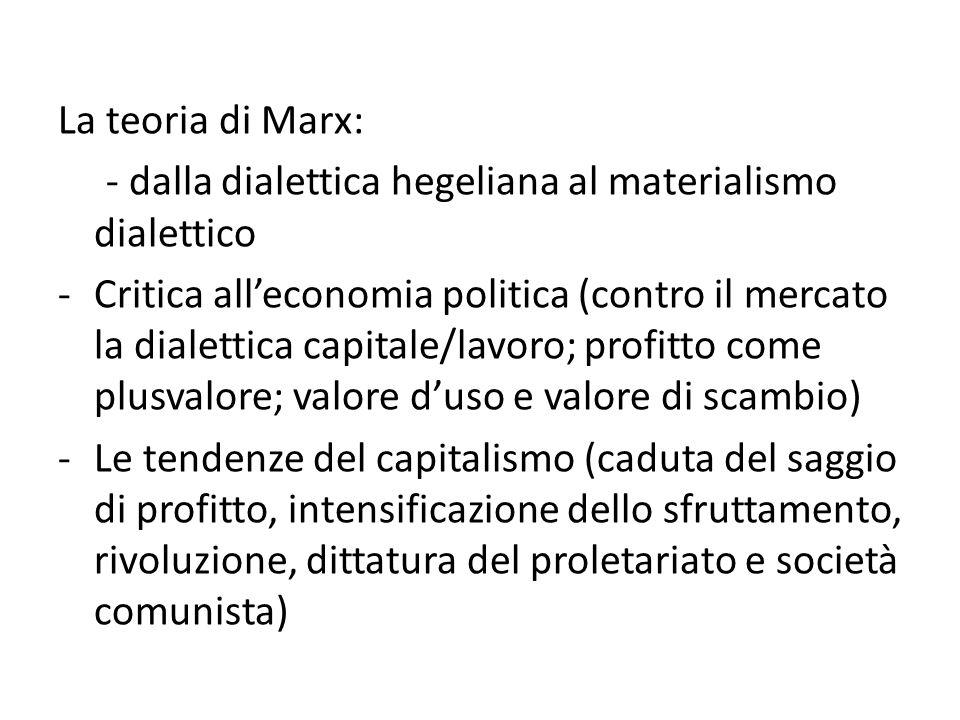 La teoria di Marx: - dalla dialettica hegeliana al materialismo dialettico -Critica all'economia politica (contro il mercato la dialettica capitale/lavoro; profitto come plusvalore; valore d'uso e valore di scambio) -Le tendenze del capitalismo (caduta del saggio di profitto, intensificazione dello sfruttamento, rivoluzione, dittatura del proletariato e società comunista)
