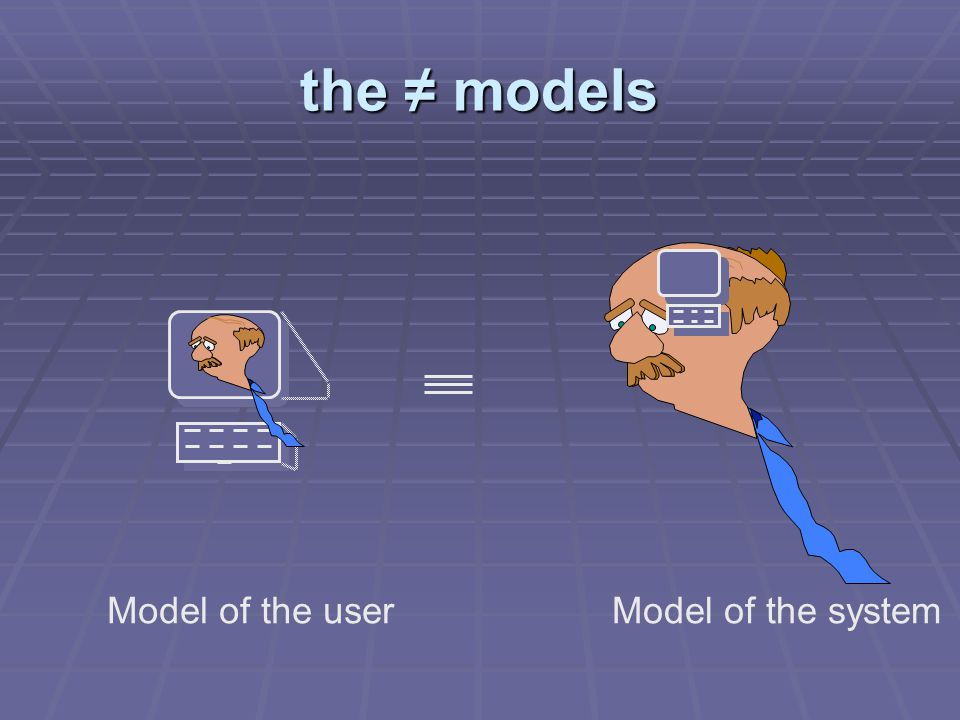 the ≠ models Model of the userModel of the system
