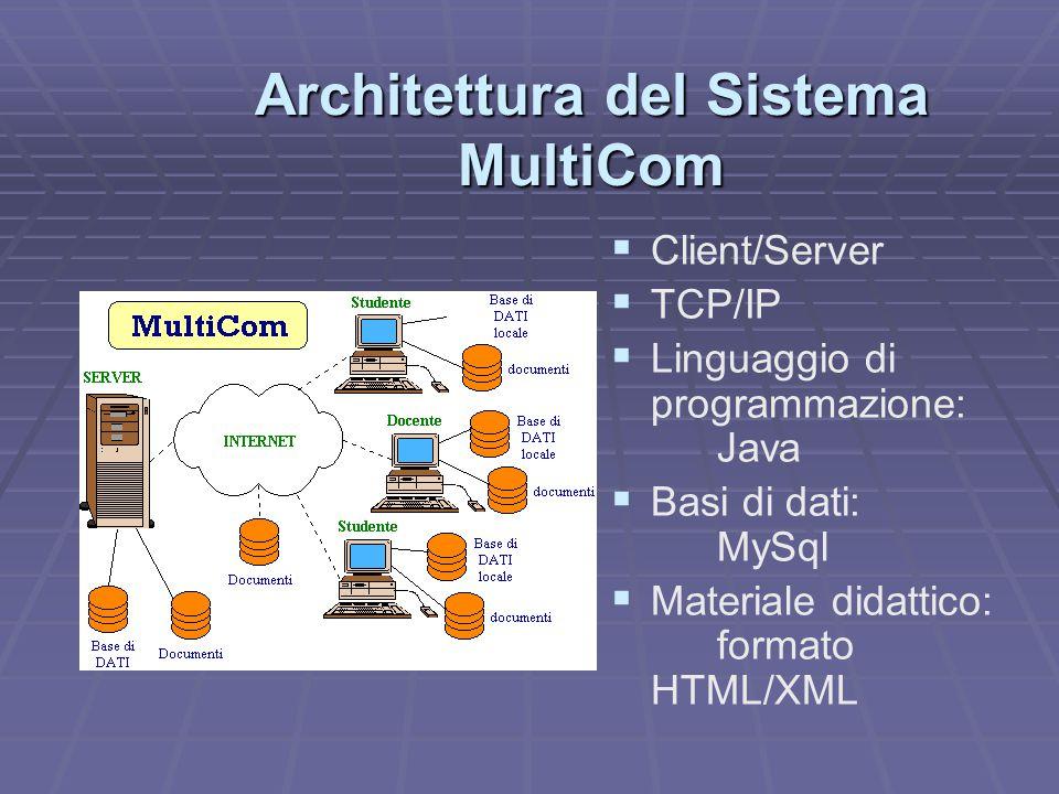 Architettura del Sistema MultiCom   Client/Server   TCP/IP   Linguaggio di programmazione: Java   Basi di dati: MySql   Materiale didattico: formato HTML/XML