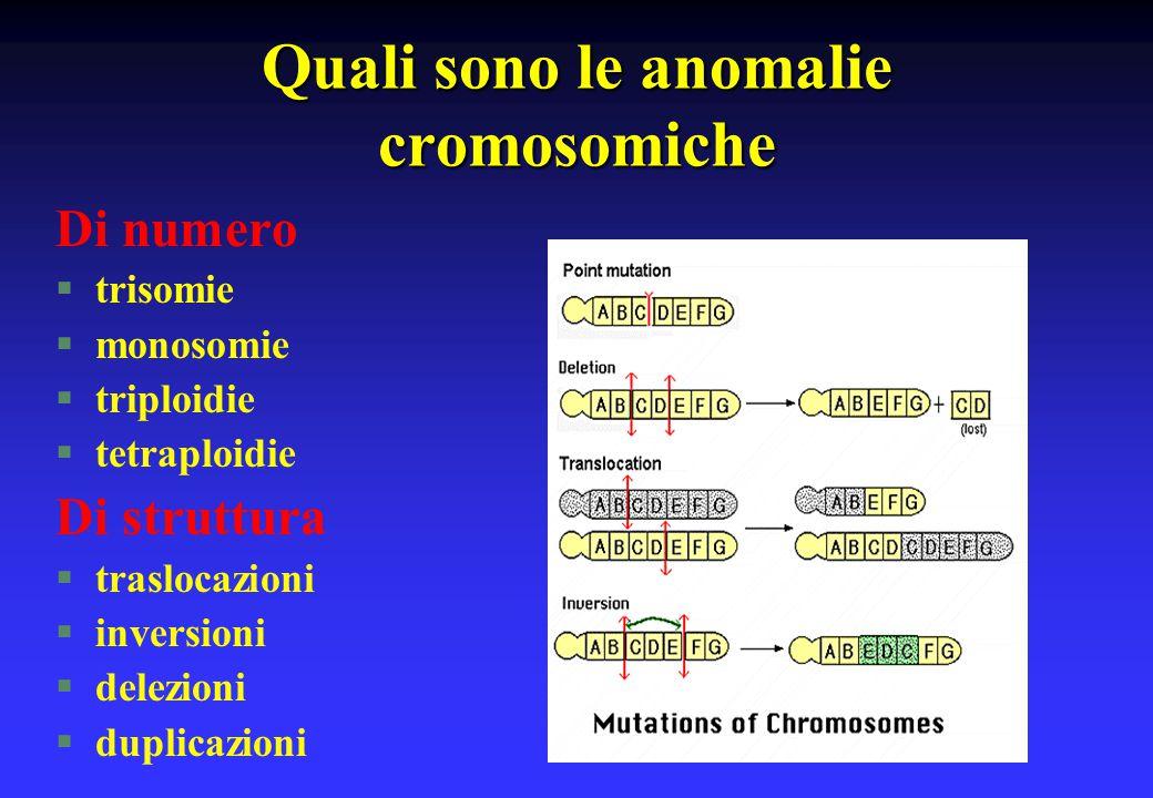 Quali sono le anomalie cromosomiche Di numero §trisomie §monosomie §triploidie §tetraploidie Di struttura §traslocazioni §inversioni §delezioni §dupli
