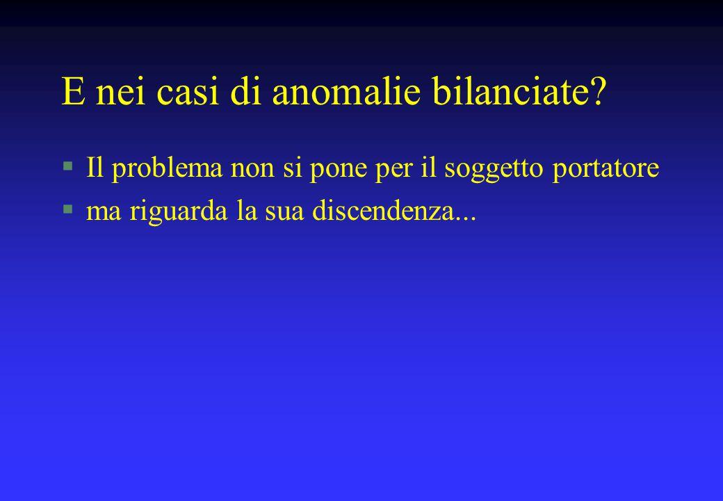 E nei casi di anomalie bilanciate? §Il problema non si pone per il soggetto portatore §ma riguarda la sua discendenza...