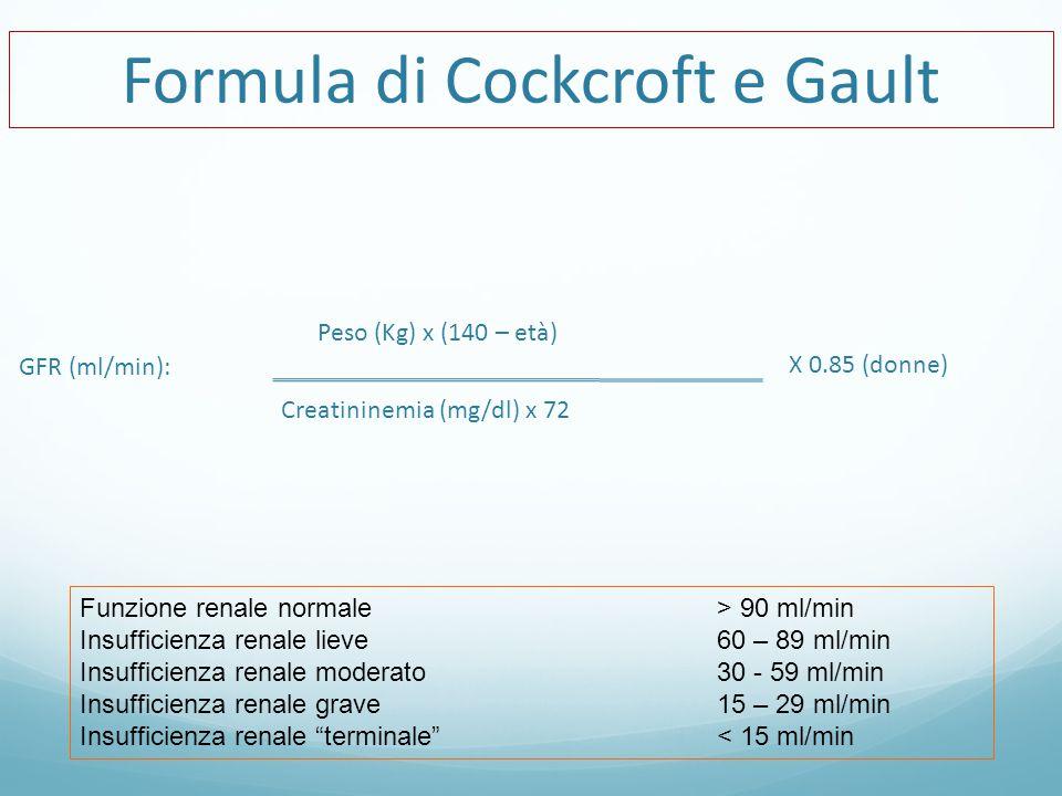 Peso (Kg) x (140 – età) Formula di Cockcroft e Gault Creatininemia (mg/dl) x 72 X 0.85 (donne) GFR (ml/min): Funzione renale normale > 90 ml/min Insufficienza renale lieve 60 – 89 ml/min Insufficienza renale moderato 30 - 59 ml/min Insufficienza renale grave 15 – 29 ml/min Insufficienza renale terminale < 15 ml/min
