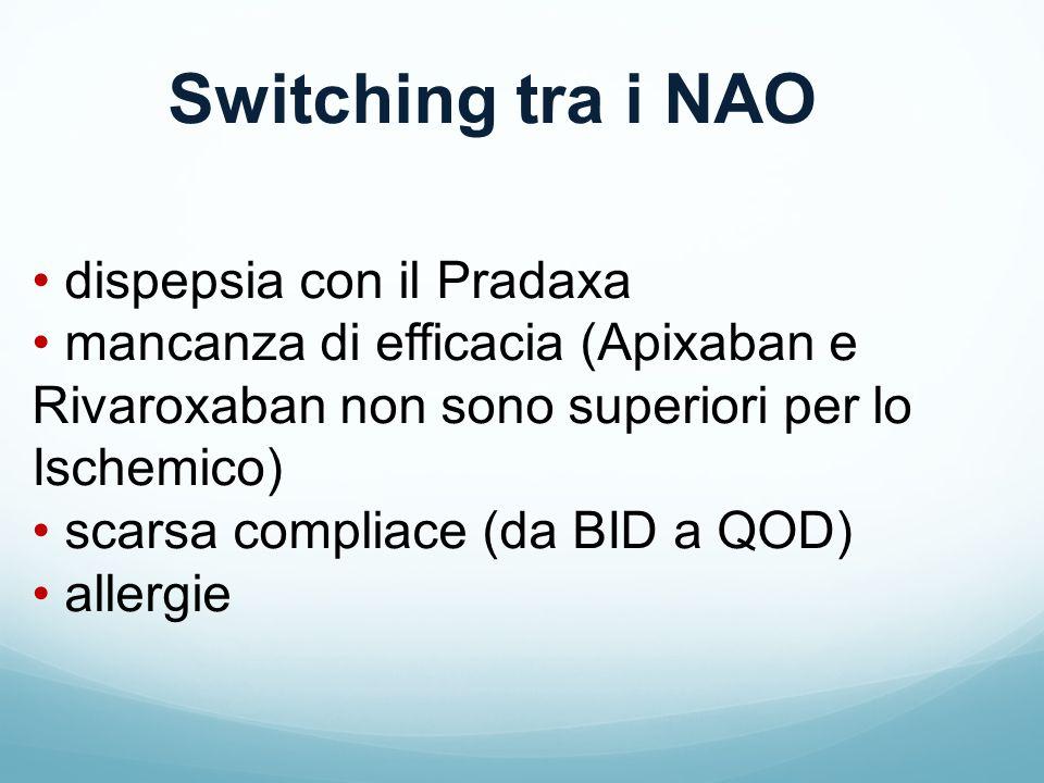 Switching tra i NAO dispepsia con il Pradaxa mancanza di efficacia (Apixaban e Rivaroxaban non sono superiori per lo Ischemico) scarsa compliace (da BID a QOD) allergie