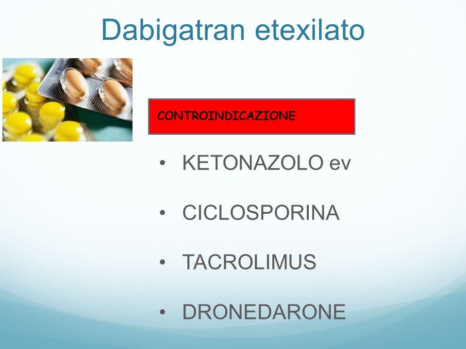 KETONAZOLO ev CICLOSPORINA TACROLIMUS DRONEDARONE CONTROINDICAZIONE Dabigatran etexilato