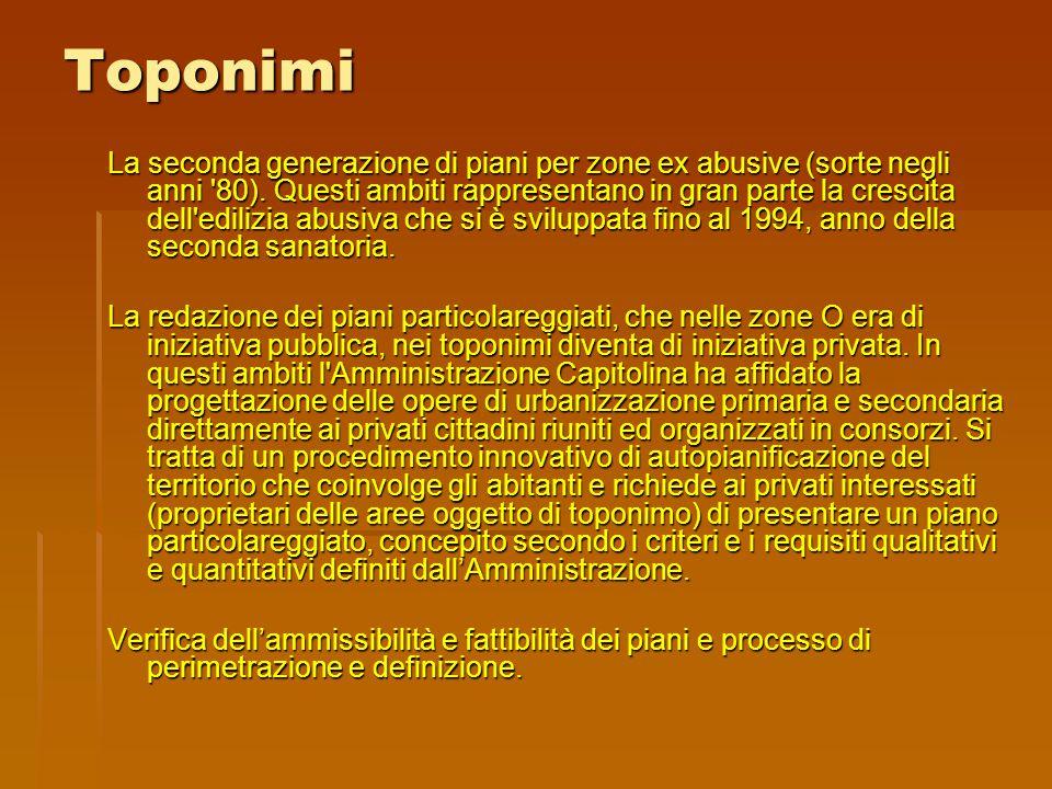 Toponimi La seconda generazione di piani per zone ex abusive (sorte negli anni 80).