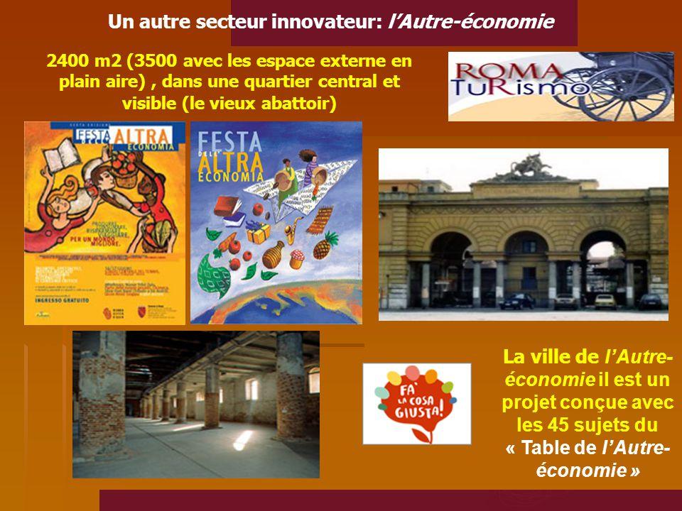 Un autre secteur innovateur: l'Autre-économie 2400 m2 (3500 avec les espace externe en plain aire), dans une quartier central et visible (le vieux abattoir) La ville de l'Autre- économie il est un projet conçue avec les 45 sujets du « Table de l'Autre- économie »