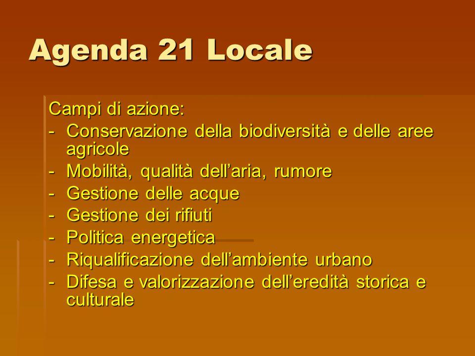 Agenda 21 Locale Campi di azione: -Conservazione della biodiversità e delle aree agricole -Mobilità, qualità dell'aria, rumore -Gestione delle acque -Gestione dei rifiuti -Politica energetica -Riqualificazione dell'ambiente urbano -Difesa e valorizzazione dell'eredità storica e culturale