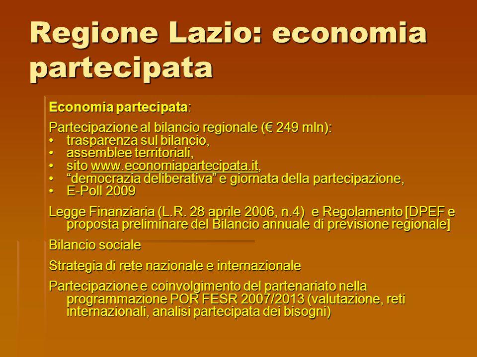 Regione Lazio: economia partecipata Economia partecipata: Partecipazione al bilancio regionale (€ 249 mln): trasparenza sul bilancio,trasparenza sul b