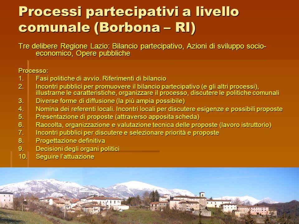 Tre delibere Regione Lazio: Bilancio partecipativo, Azioni di sviluppo socio- economico, Opere pubbliche Processo: 1.Fasi politiche di avvio. Riferime