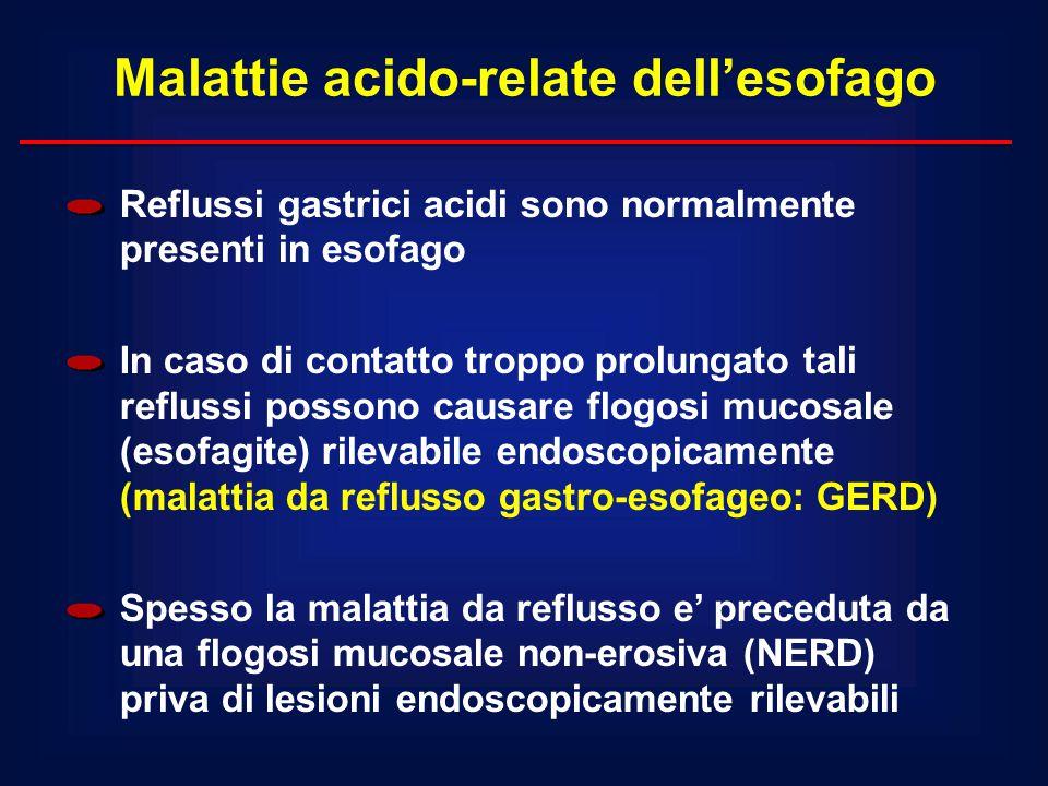 Reflussi gastrici acidi sono normalmente presenti in esofago In caso di contatto troppo prolungato tali reflussi possono causare flogosi mucosale (eso