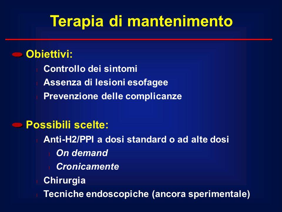Obiettivi: l Controllo dei sintomi l Assenza di lesioni esofagee l Prevenzione delle complicanze Possibili scelte: l Anti-H2/PPI a dosi standard o ad