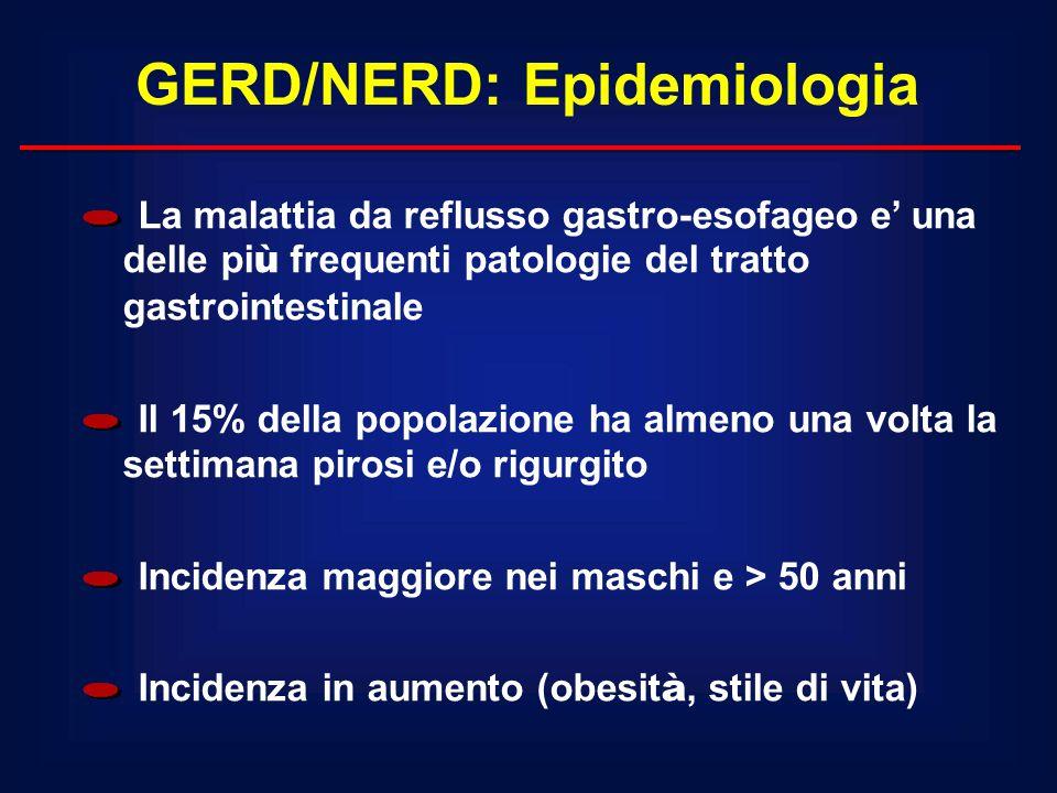 GERD/NERD: Epidemiologia La malattia da reflusso gastro-esofageo e' una delle pi ù frequenti patologie del tratto gastrointestinale Il 15% della popol