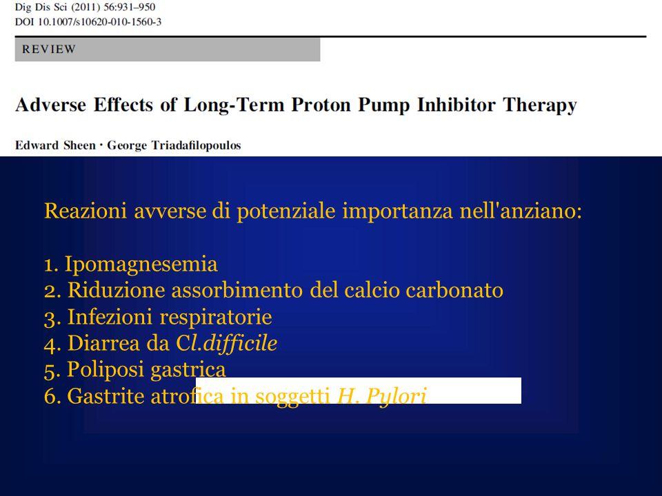 Reazioni avverse di potenziale importanza nell'anziano: 1. Ipomagnesemia 2. Riduzione assorbimento del calcio carbonato 3. Infezioni respiratorie 4. D