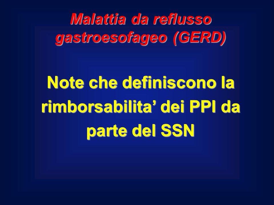 Note che definiscono la rimborsabilita' dei PPI da parte del SSN Malattia da reflusso gastroesofageo (GERD)