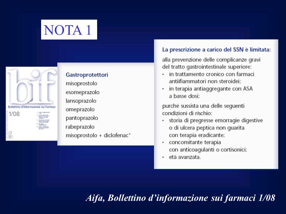 Aifa, Bollettino d'informazione sui farmaci 1/08 NOTA 1