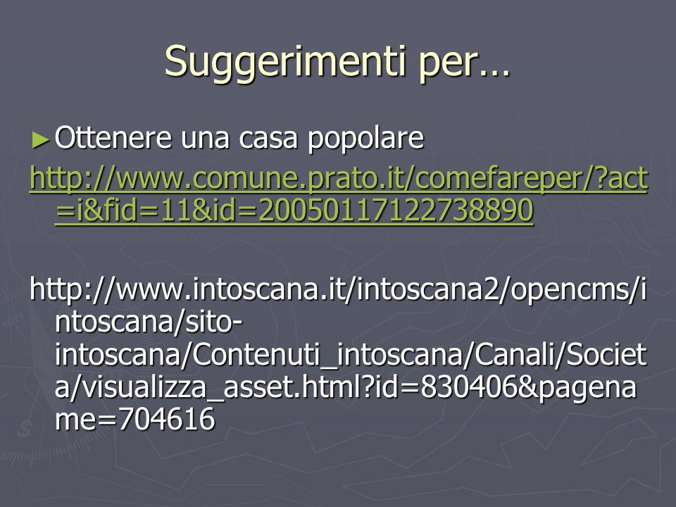 Suggerimenti per… ► Ottenere una casa popolare http://www.comune.prato.it/comefareper/ act =i&fid=11&id=20050117122738890 http://www.comune.prato.it/comefareper/ act =i&fid=11&id=20050117122738890 http://www.intoscana.it/intoscana2/opencms/i ntoscana/sito- intoscana/Contenuti_intoscana/Canali/Societ a/visualizza_asset.html id=830406&pagena me=704616