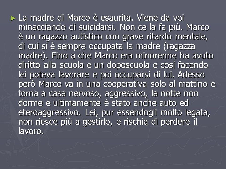 ► La madre di Marco è esaurita. Viene da voi minacciando di suicidarsi.