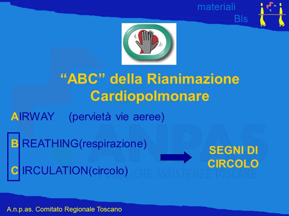 """""""ABC"""" della Rianimazione Cardiopolmonare AIRWAY(pervietà vie aeree) B REATHING(respirazione) C IRCULATION(circolo) SEGNI DI CIRCOLO"""