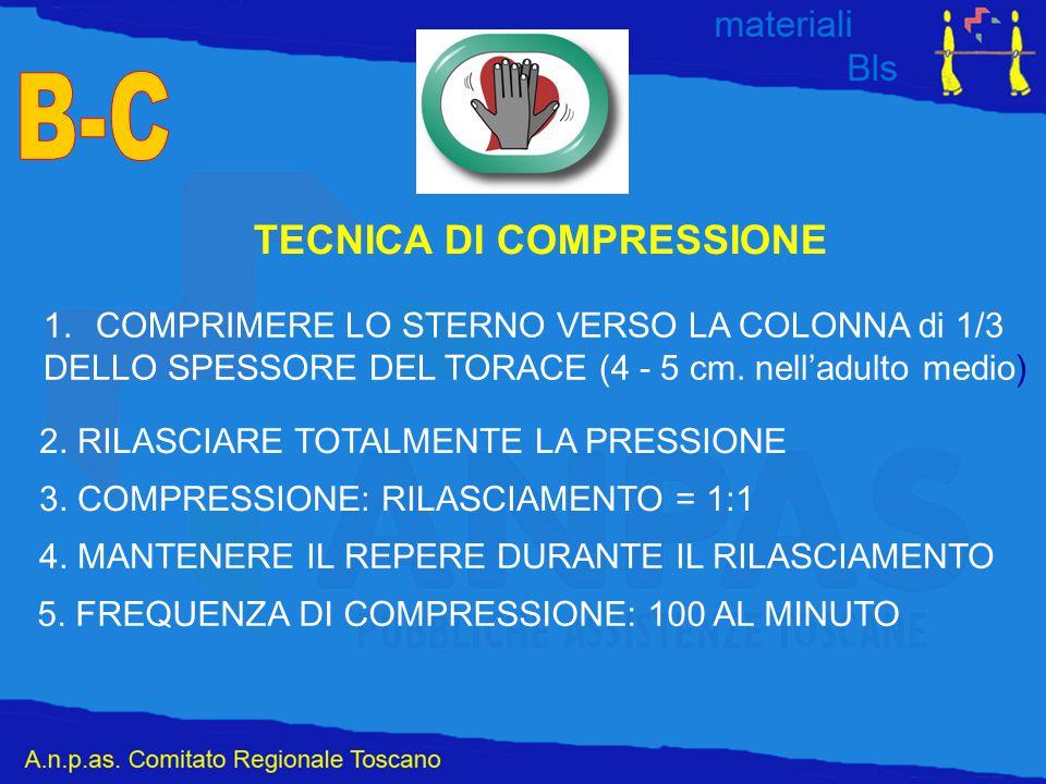 TECNICA DI COMPRESSIONE 1.COMPRIMERE LO STERNO VERSO LA COLONNA di 1/3 DELLO SPESSORE DEL TORACE (4 - 5 cm. nell'adulto medio) 2. RILASCIARE TOTALMENT