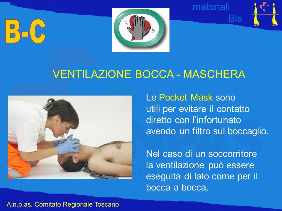 VENTILAZIONE BOCCA - MASCHERA Le Pocket Mask sono utili per evitare il contatto diretto con l'infortunato avendo un filtro sul boccaglio. Nel caso di