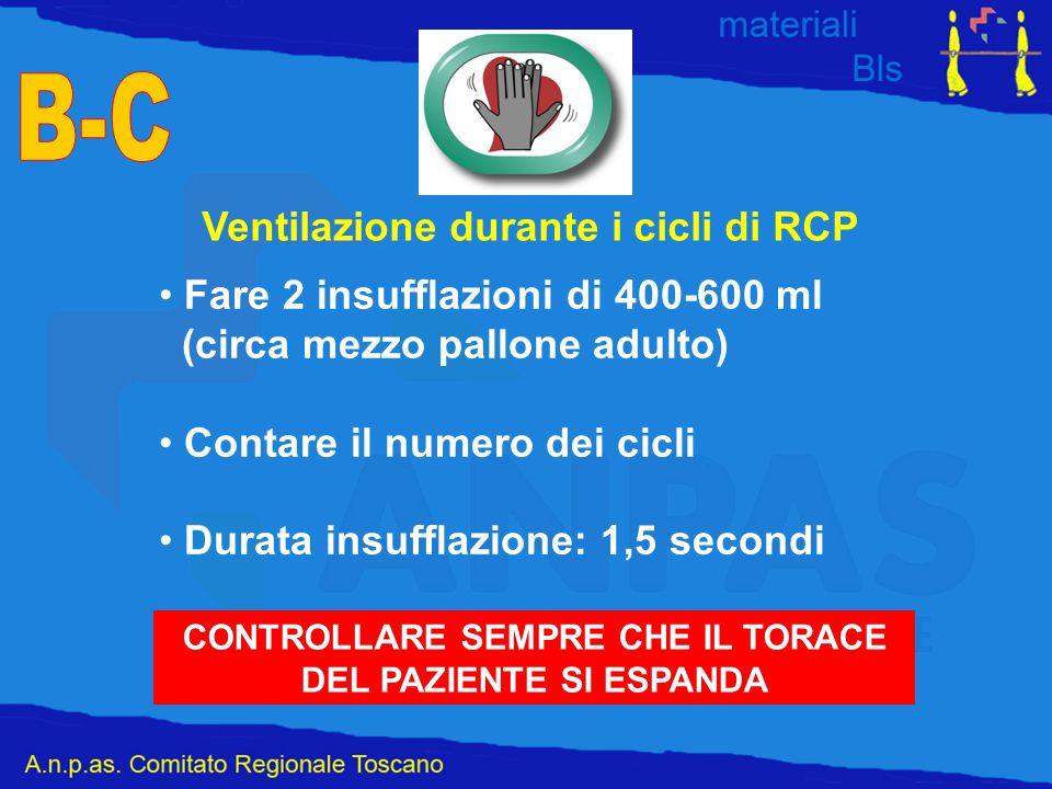 Ventilazione durante i cicli di RCP Fare 2 insufflazioni di 400-600 ml (circa mezzo pallone adulto) Contare il numero dei cicli Durata insufflazione: