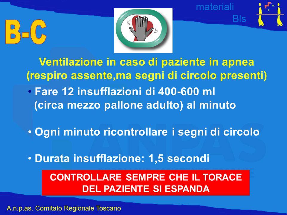 Ventilazione in caso di paziente in apnea (respiro assente,ma segni di circolo presenti) Fare 12 insufflazioni di 400-600 ml (circa mezzo pallone adul