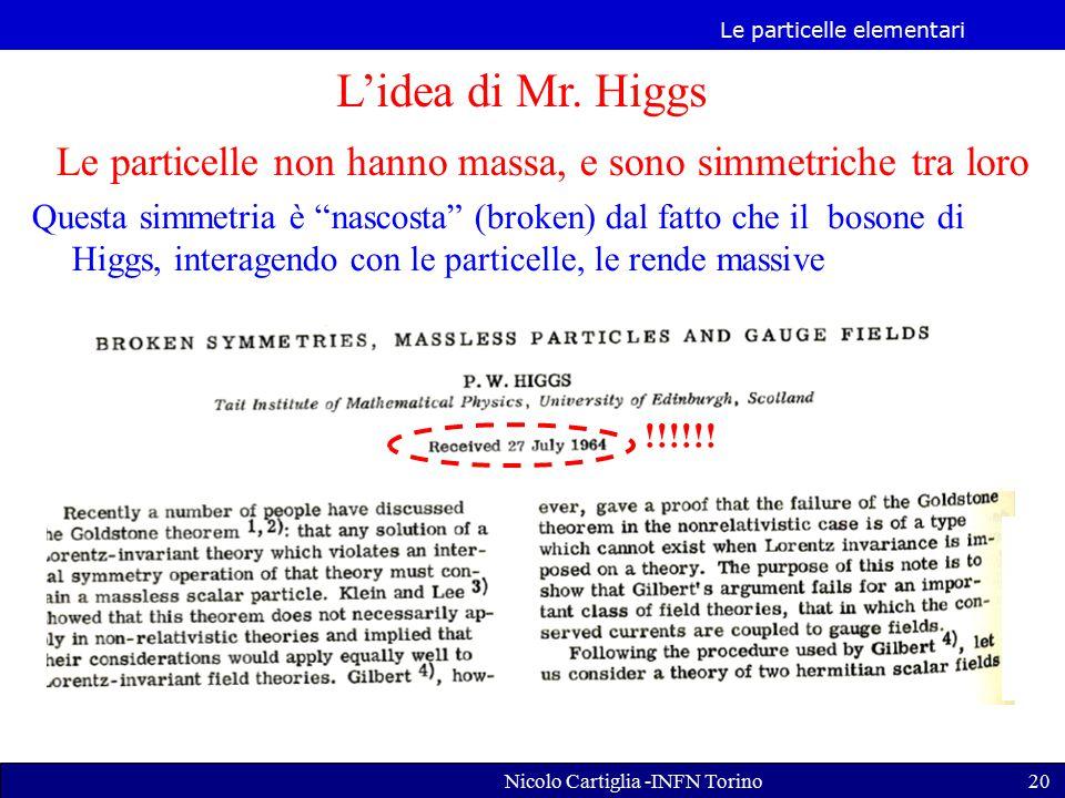 Le particelle elementari Nicolo Cartiglia -INFN Torino20 L'idea di Mr.