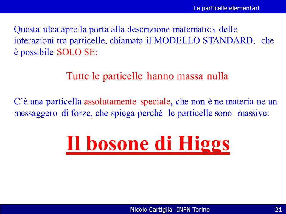Le particelle elementari Nicolo Cartiglia -INFN Torino21 Questa idea apre la porta alla descrizione matematica delle interazioni tra particelle, chiamata il MODELLO STANDARD, che è possibile SOLO SE: Tutte le particelle hanno massa nulla C'è una particella assolutamente speciale, che non è ne materia ne un messaggero di forze, che spiega perché le particelle sono massive: Il bosone di Higgs