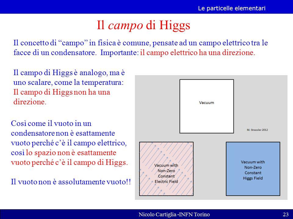 Le particelle elementari Nicolo Cartiglia -INFN Torino23 Il campo di Higgs Il concetto di campo in fisica è comune, pensate ad un campo elettrico tra le facce di un condensatore.